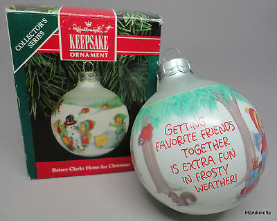 Hallmark Betsey Clark Glass Ball 1991 Christmas Ornament Boxed 6th in Series USA