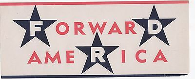 FDR ForwarD AmeRica ROOSEVELT Campaign Window Poster Strip w/ stars