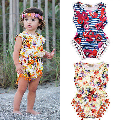 Newborn Toddler Baby Girl Floral Bodysuit Romper Jumpsuit Outfit Sunsuit Clothes