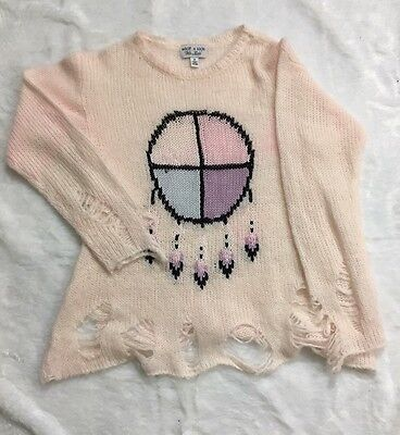 Wildfox Kids White Label Sweater Girl's 12 Dream Catcher Pink Wool Ripped Trendy