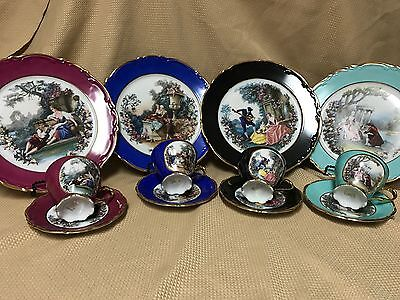 Stunning Set of 4 ARDALT Chargers Cups & Saucers Love Story Victorian Germany