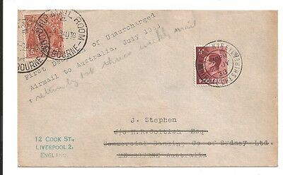 vintage 1938 special first despatch unsurcharged air mail australia to england