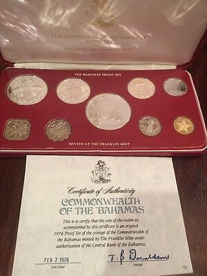 1976 Bahamas Islands Proof Set (9) with Four Silver Coins/COA//Case/FM