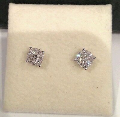 Pair 18ct White Gold Diamond Invisible Set Stud Earrings Really Exquisite