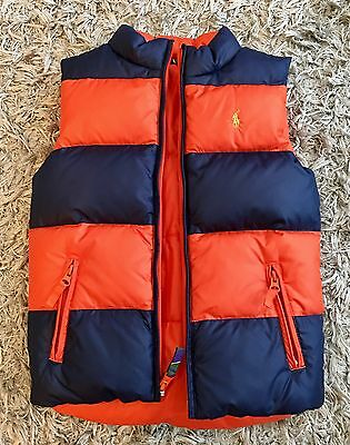 Polo Ralph Lauren 6x Puffer Down Vest Reversible Orange Blue Crest