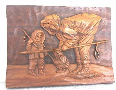 Rare Hand Carved Spear Fishing Eskimo Wooden Plaque