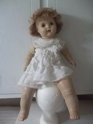 """Vintage 22"""" Composition Baby Doll Open Mouth with Tongue and Teeth"""