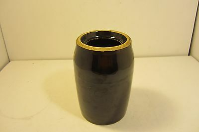 "Vintage 7 1/2"" Brown Stoneware Wax Seal Canning Jar - Wax Seal Jar / Canning"