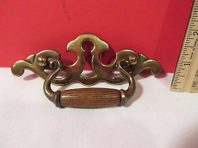 1 Vintage Chippendale Wood & Brass Furniture Pulls Screw Holes 3""