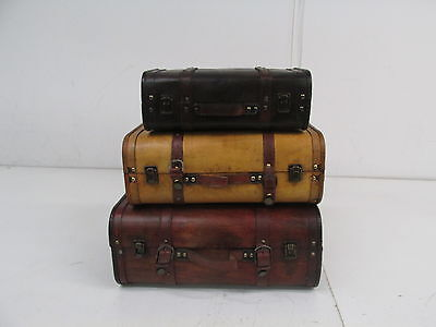 Vintiquewise QI003068.3 3-Colored Vintage Luggage Suitcase/Trunk, Set of 3