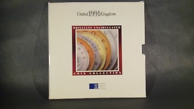 1991 United Kingdom Brilliant Uncirculated Coin Collection 7 coins Original Pack
