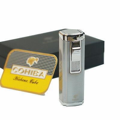 COHIBA Silver 3 Torch Jet Flame Butane Gas Cigar Lighter With Cigar Punch 06