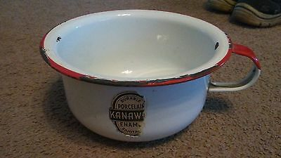 Vintage Kanawha Porcelain Enamel Sanitary Chamber Pot with Handle