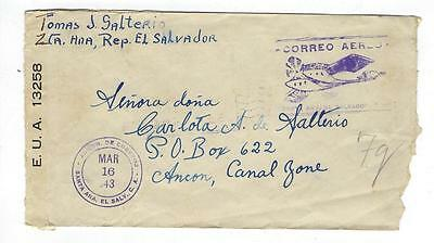 1943 El Salvador To Panama Canal Zone Airmail Cover - See Both Sides -#I24
