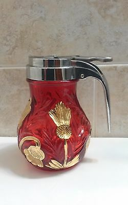 Mosser Ruby Red and Gold Inverted Thistle Glass Syrup
