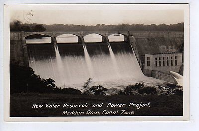 c1920s RPPC Madden Dam, Canal Zone, New Water Reservior & Power Project