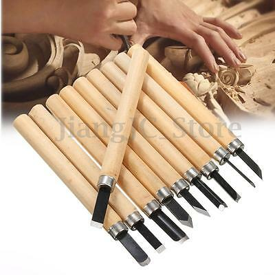10Pcs Wood Work Carving Hand Chisels Tool CUTTING Set For Woodworking Carpenter