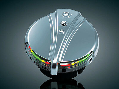 Kuryakyn 7281 Chrome Deco L.E.D. Fuel & Battery Gauge Harley Models 1988-2016