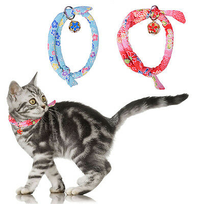 Pet Cat Kitten Flower-printed Cloth Collars w/Bell Neck Collar Accessory For Cat