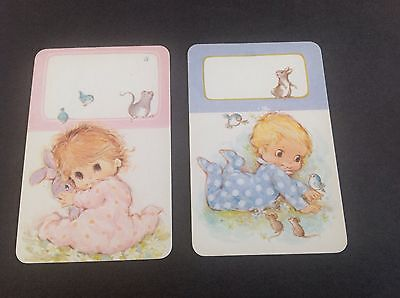 Swap Cards, Vintage Playing Cards Baby Pink/ Blue Animals