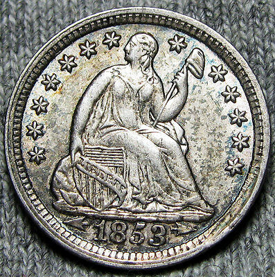 1853 Seated Liberty Half Dime Silver Type Coin  -- STUNNING L@@K -- #D159
