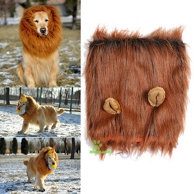 HOT Pet Festival Fancy Dress up Costume Clothes with Ears Lion Mane Wig for Dog