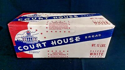 Vintage C.F Smith Co Detroit Advertising 1950's Court House Bread Wrapper Loaf