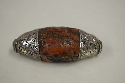 Tibetan Red Coral Etched Silver Pendant Bead