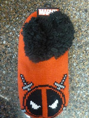 Marvel Deadpool Cozy Knit Slippers Faux Fur One Size Fits Most 14+ New w Tags