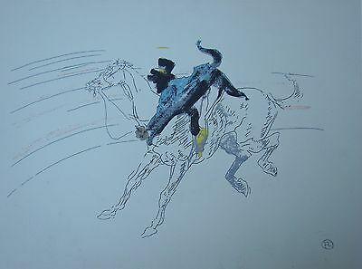 Colored Pencil TOULOUSE LAUTREC LITHOGRAPH Horse Monkey in Ring CIRCUS PRINT