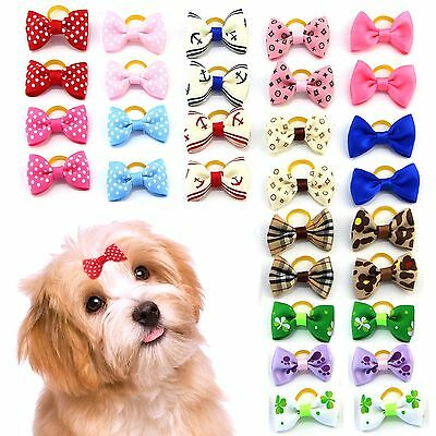 MEWTOGO Pet Hair Bows With Rubber Bands-Dog Hair Accessories with Different P...