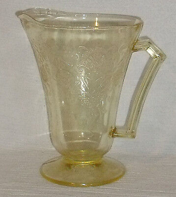 "Hazel Atlas Pitcher FLORENTINE Yellow Jug 8.25"" Vtg 1935 Footed"