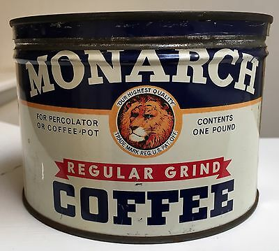 Vintage Monarch Coffee Tin Lion One Pound Regular Grind Percolator or Pot