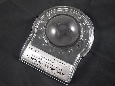 Vtg Glass Advertising Paperweight Magnifier Buick Pontiac Dealership Motor SD