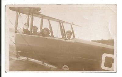 vintage aviation postcard c1920s lady and 2 gentlemen ready for take off