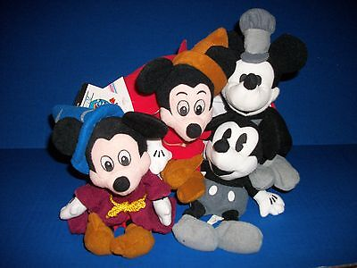 Disney Mickey Set Of Four Vintage Character Style Beanbags - New