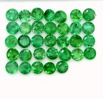 Natural Emerald Round Cut 2.50 mm 16 Pcs 0.99 Cts Lustrous Green Loose Gemstones
