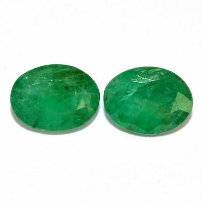 Certified Natural Emerald Oval Cut Pair 8*6 mm 2.05 Cts Untreated Loose Gemstone