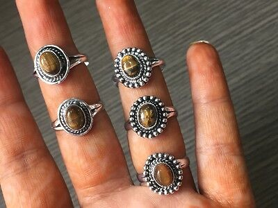 WHOLESALE LOT 5 pcs TIGERS EYE STONE .925 SILVER PLATED RINGS 17.5 GMS