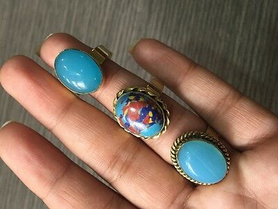 WHOLESALE LOT 3 pcs CHALCEDONY &MULTI-STONE.925 STERLING SOLID BRASS RING 16 GMS