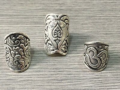 WHOLESALE LOT 3 pcs .925 STERLING SILVER PLATED HANDEMADE DESIGNER RINGS 23 GMS