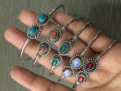 WHOLESALE LOT 5 pcs TURQUOISE &MULTI-STONE.925 STERLING SILVER PLATED BANGLE
