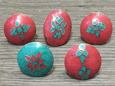 WHOLESALE LOT 5 pcs TURQUOISE & RED CORAL STONE 925 TIBETAN SOLID BRASS RINGS