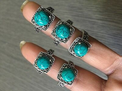 WHOLESALE LOT 5 pcs TURQUOISE STONE.925 STERLING SILVER OVERLAY RINGS 20 GMS