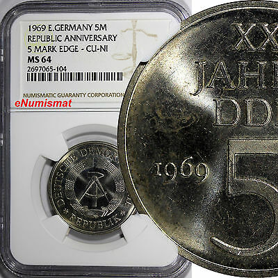 German-Democratic Republic 1969 5 Mark NGC MS64 TOP GRADED BY NGC KM# 22.1a