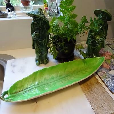 Rare -  Fabulous Vintage Carlton Ware Long Green Leaf serving Dish