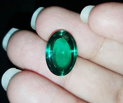 Che-tan Panna (Emerald) 9.60 Ct Oval Cabochon Lab-Created Gemstone