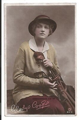 1915 photograph fashion postcard female golf attire with clubs Gladys cooper