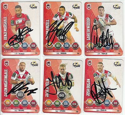 NRL Cards 6 Personally Signed Cards Dragons