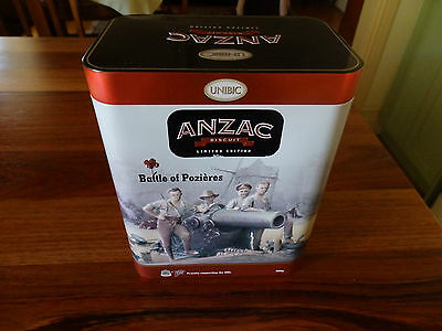 "Unibic  Anzac Biscuit Tin .  "" Battle of Pozieres "". 2016.+Leaflet"